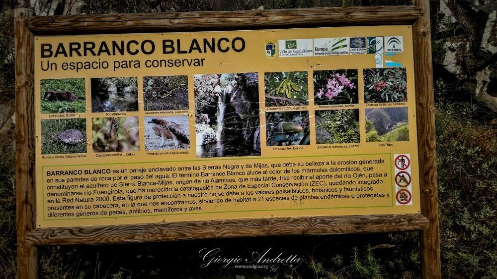 barranco blanco; riserva naturale; malaga; escursioni; turismo; Fuengirola; fiume; oasi; Alaminos; charco del infierno; Charco de la Paloma;